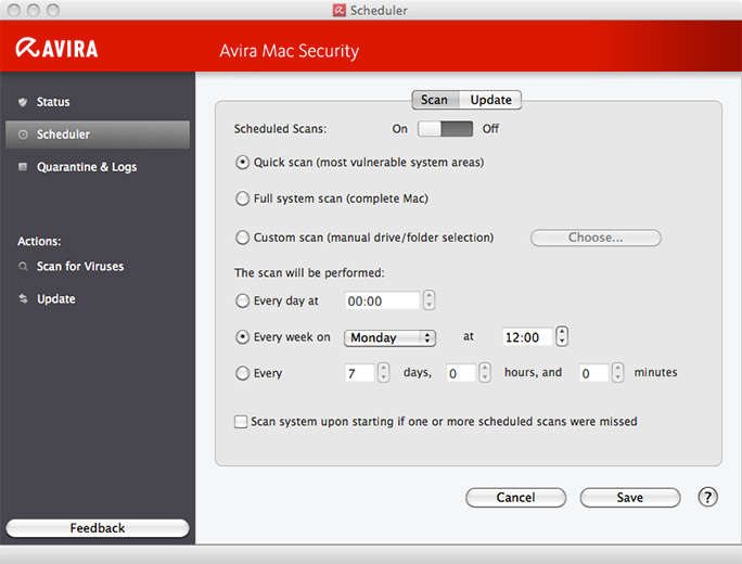 Avira Free Mac Security Scheduler