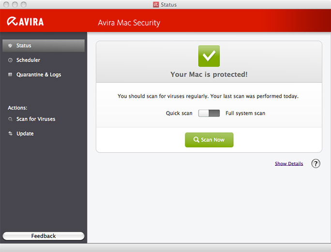 Avira Free Mac Security status